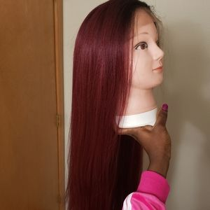 """38"""" Long Straight Lace Front Wine Color Wig"""